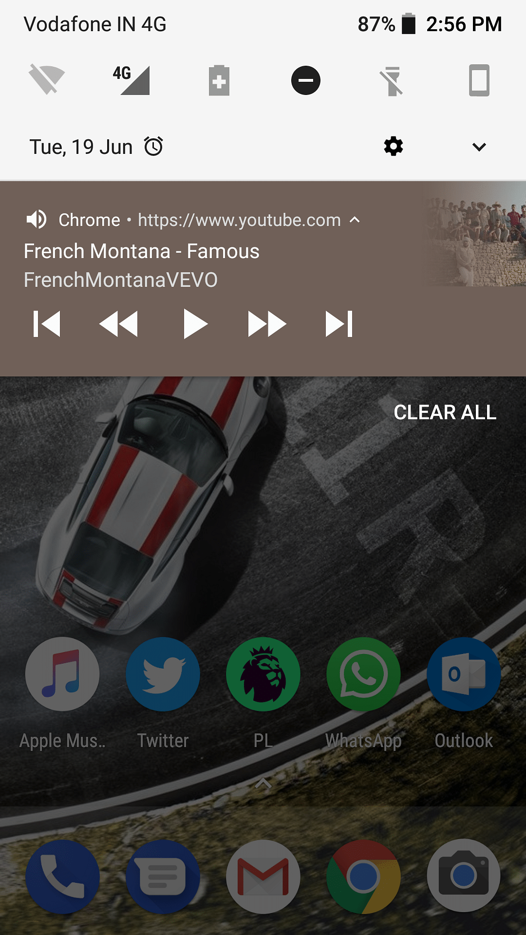 How the YouTube notification bar looks on your drop down menu.