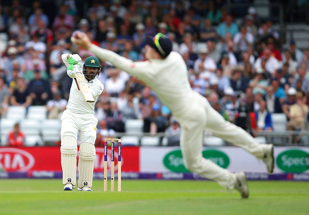 Pakistan's Haris Sohail is caught by England's Dom Bess on day three of the second Test match.