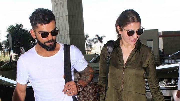 File photo of Virat and Anushka at the airport.