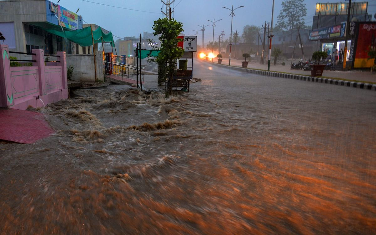 A view of flooded roads during heavy rains, in Dungarpur, Rajasthan on Monday, 25 June.