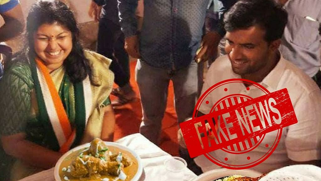 Viral Pic Maligning Veg Congress Leader for Eating Meat is Fake!
