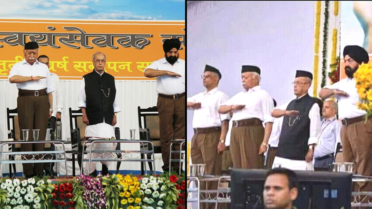 Twenty-four hours after Pranab Mukherjee visited the RSS headquarters in Nagpur for the organisation's Tritya Varsha Varg event, a morphed photo of Mukherjee has sent the internet in a dizzy.
