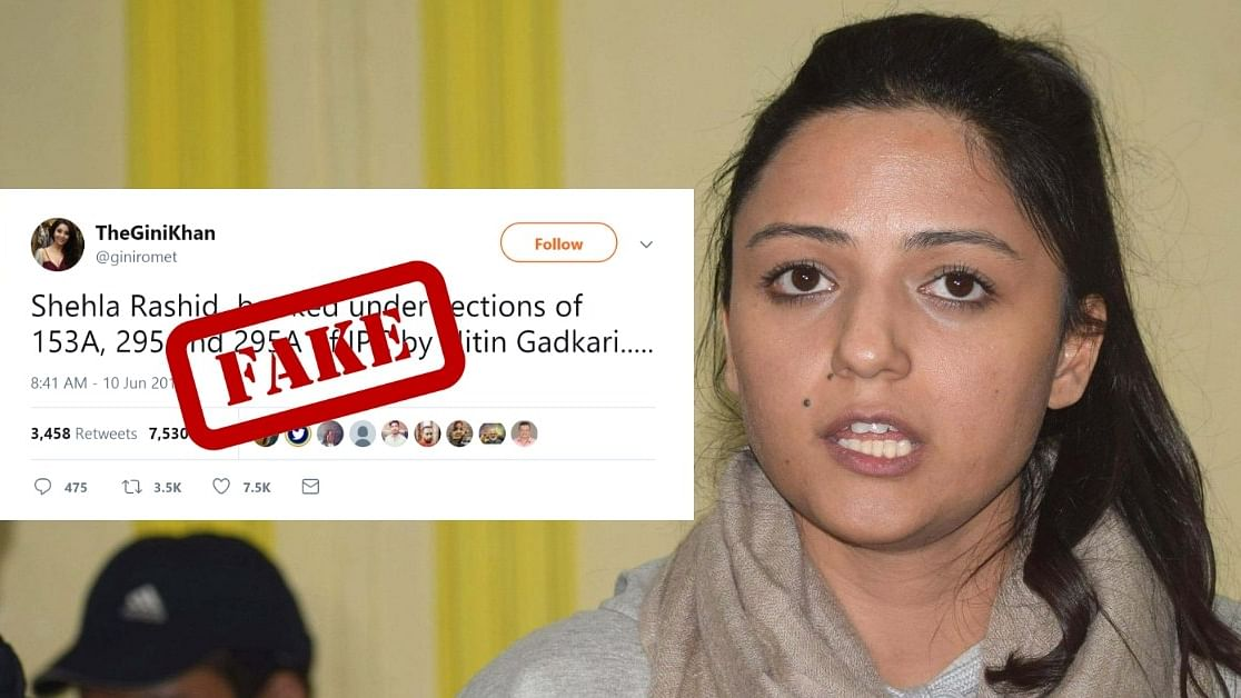 #WebQoof: Shehla Rashid Isn't Booked for Tweet on Gadkari Yet