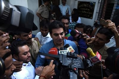 Thane: Actor Arbaaz Khan talks to press outside Thane Anti Extortion Cell in Thane on June 2, 2018. Khan was summoned before the AEC regarding IPL betting scam since the past five-six years involving several billions of rupees. (Photo: IANS)