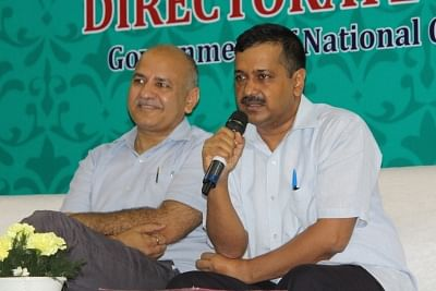 New Delhi: Delhi Chief Minister Arvind Kejriwal and Deputy Chief Minister Manish Sisodia during an interaction with the students of government school who cleared JEE Main 2018 in New Delhi, on June 4, 2018. (Photo: IANS)