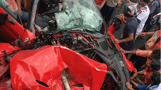 The mangled remains of the Ferrari California T that crashed on a flyover on National Highway 6 near Salap in Howrah, killing owner Shibaji Roy.