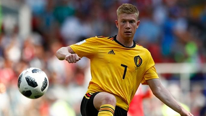 Belgium's Kevin De Bruyne controls the ball during the group G match between Belgium and Tunisia at the FIFA World Cup 2018