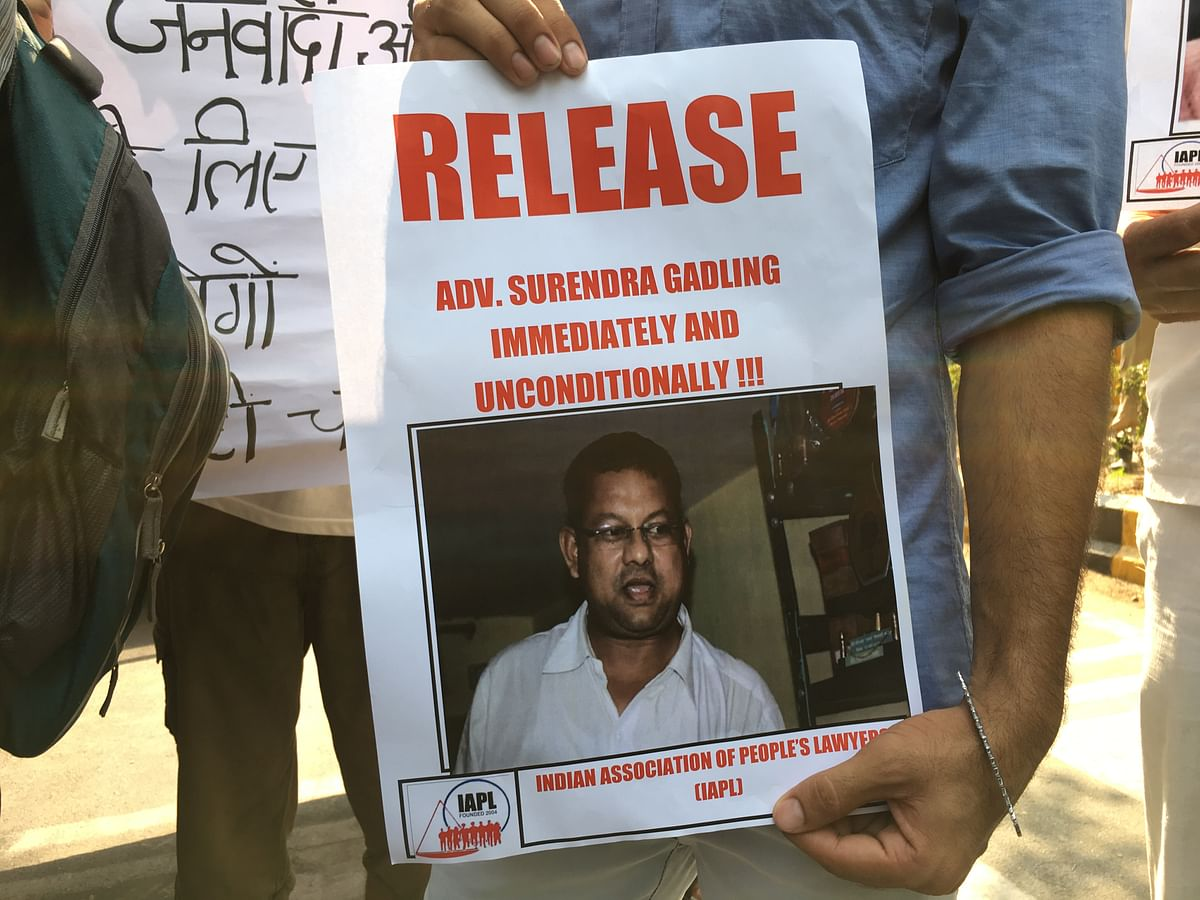 A poster demanding the immediate release of human rights lawyer Surendra Gadling