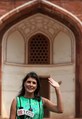 New Delhi: US Ambassador to the UN Nikki Haley talks to the media during her visit to Humayun