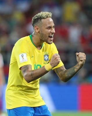 MOSCOW, June 27, 2018 (Xinhua) -- Neymar of Brazil celebrates victory after the 2018 FIFA World Cup Group E match between Brazil and Serbia in Moscow, Russia, June 27, 2018. Brazil won 2-0 and advanced to the round of 16. (Xinhua/Bai Xueqi