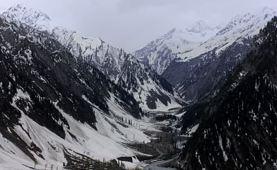 Ganderbal: A view of snow-covered mountain in Baltal, Sonamarg on the way of Amarnath in Ganderbal district of Jammu and Kashmir. (Photo: IANS)
