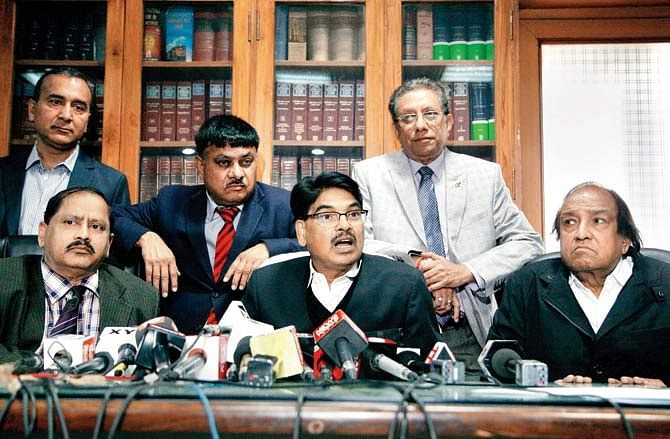 Manan Kumar Mishra and the office-bearers of the BCI at the previous press conference