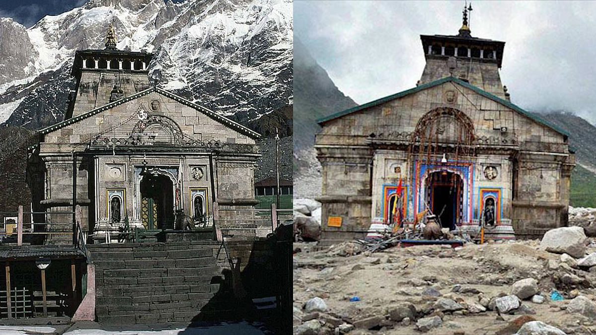 The Kedarnath shrine, before (left) and after (right) the 2013 flash floods.