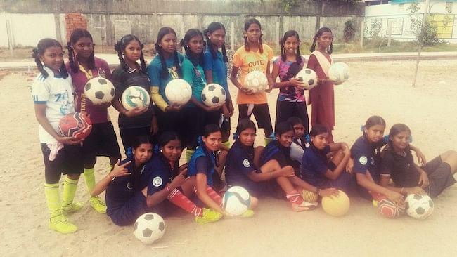 The girls football team in Shollinganallur.