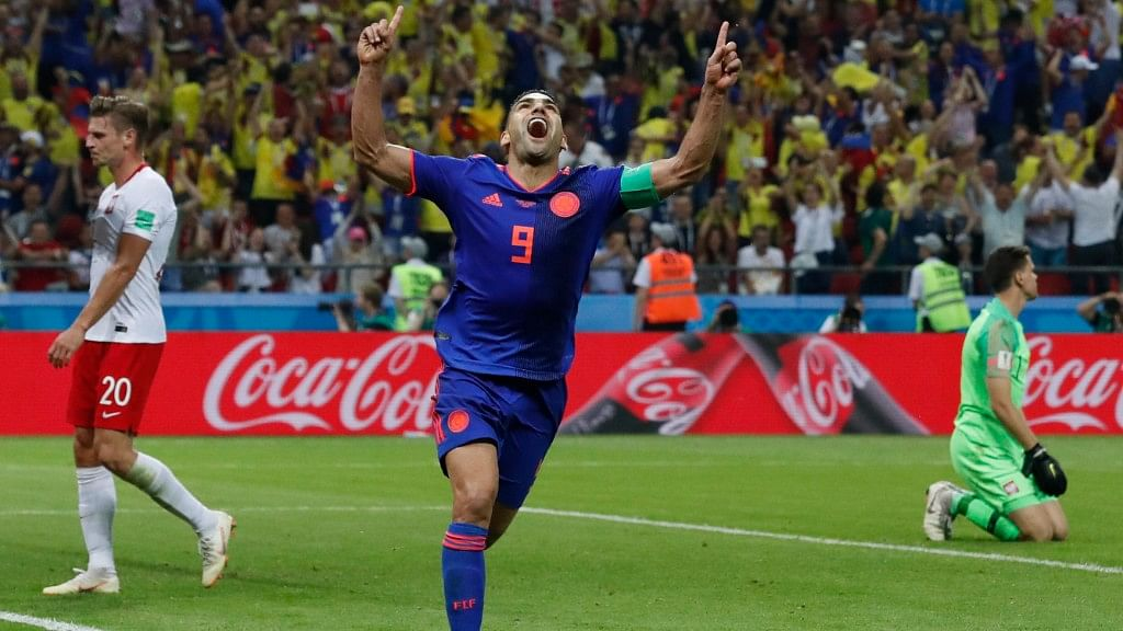 Colombia's Radamel Falcao celebrates after scoring their second goal against Poland at the Kazan Arena on Sunday.