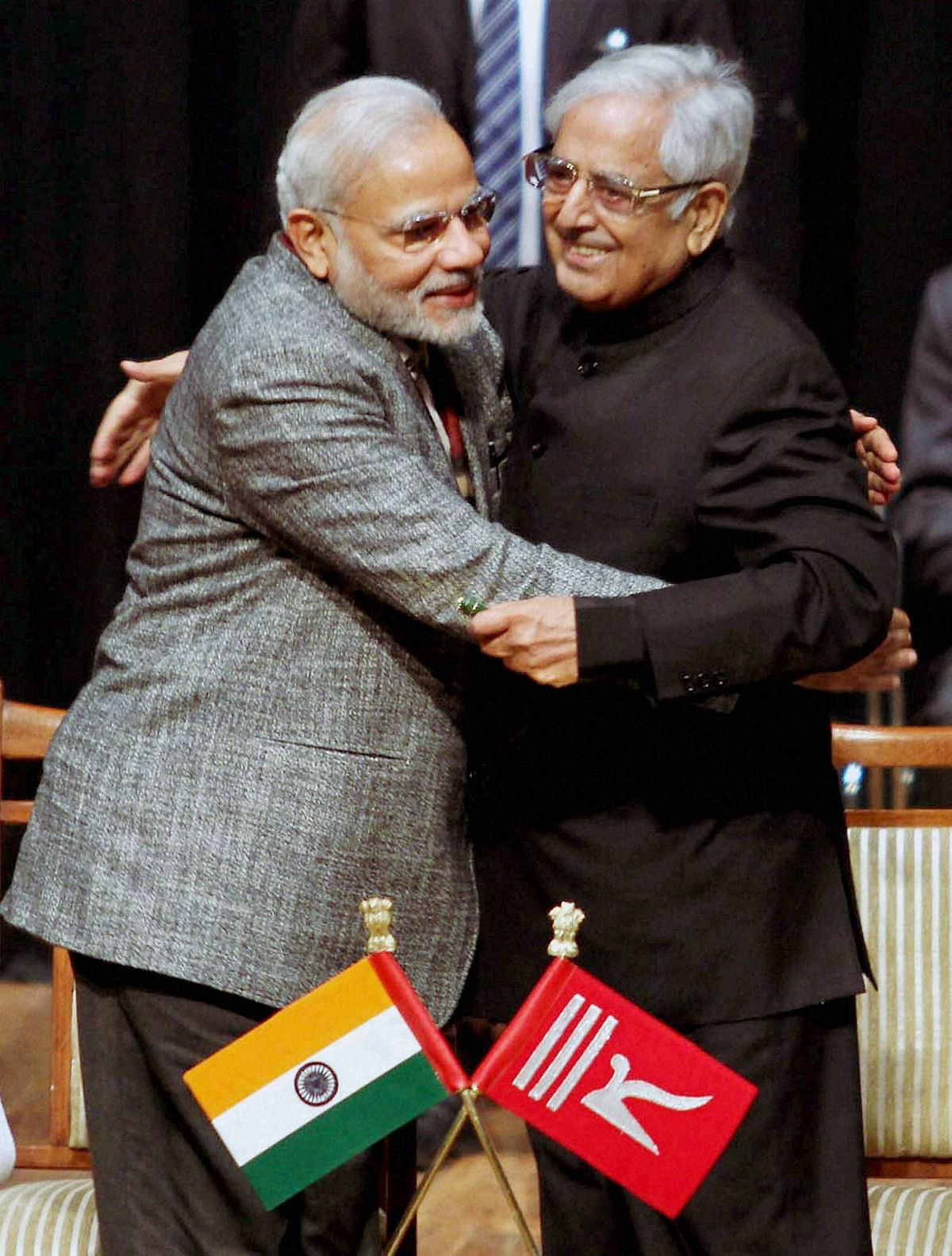 File photo of Pime Minister Narendra Modi hugging late former J&K chief minister Mufti Mohammad Sayeed.