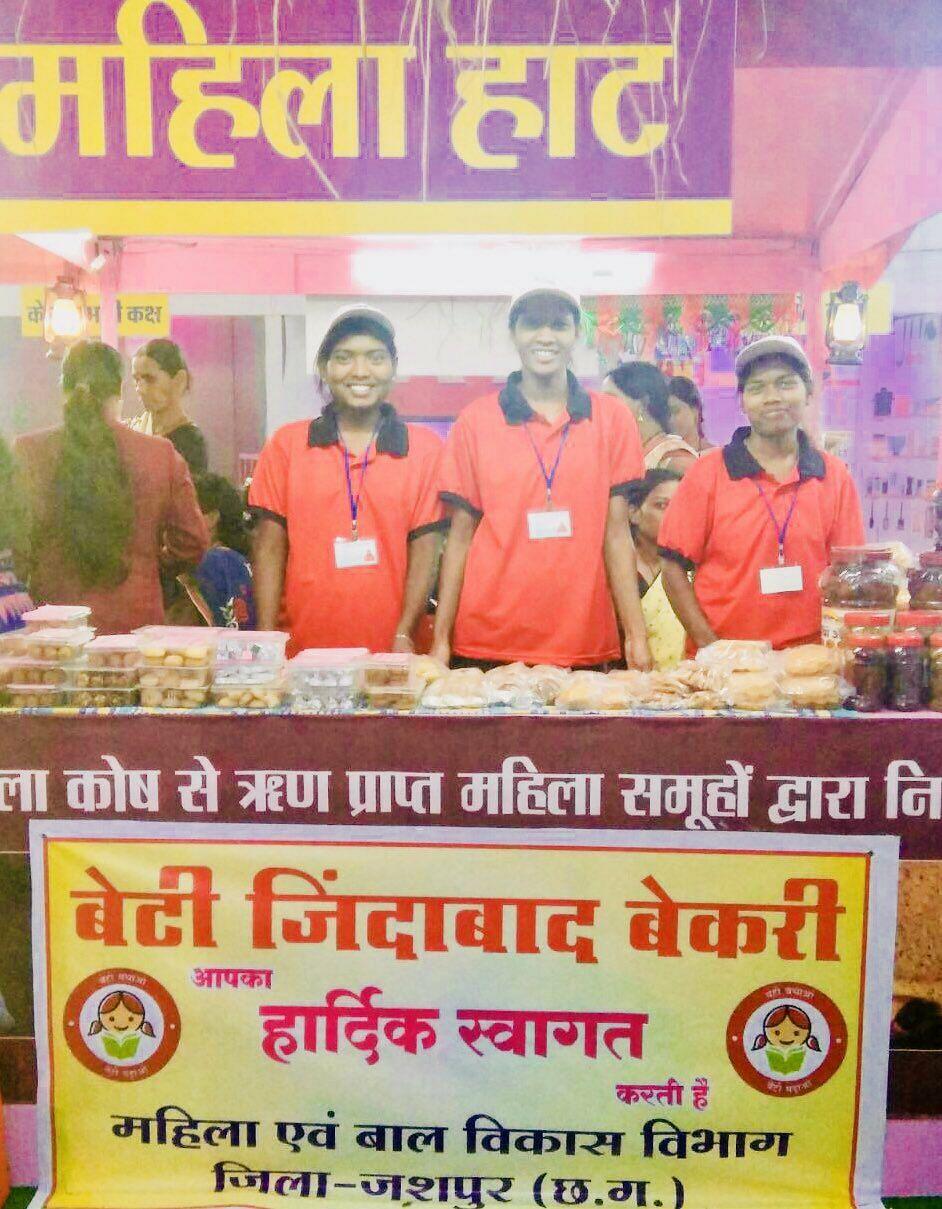 The women of Beti Zindabad Bakery run a stall at Rajyotsav, Raipur.
