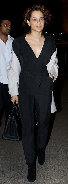 Kangana Ranaut was seen in black at the airport.