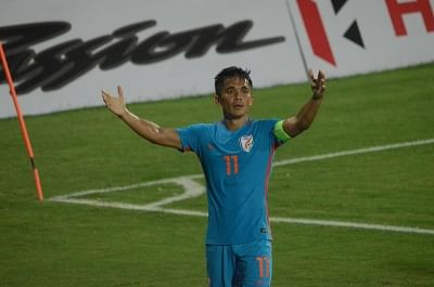 Indian captain Sunil Chhetri celebrates after scoring a goal during an Intercontinental Cup match between India and Kenya at Andheri Sport Complex in Mumbai on June 10, 2018. (Photo: IANS)