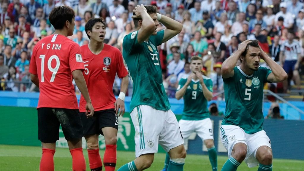 Germany's Mario Gomez (centre) and Mats Hummels hold their heads after failing to score during their Group F match against South Korea at the Kazan Arena on Wednesday.
