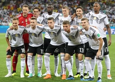 SOCHI, June 23, 2018 (Xinhua) -- Players of Germany pose for a group photo prior to the 2018 FIFA World Cup Group F match between Germany and Sweden in Sochi, Russia, June 23, 2018. (Xinhua/Li Ming/IANS)