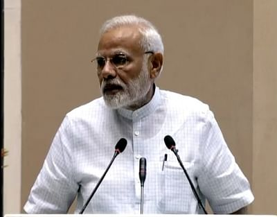 New Delhi: Prime Minister Narendra Modi addresses during a programme organised to release UN Environment report on the occasion of World Environment Day, in New Delhi on June 5, 2018. (Photo: IANS/Twitter/@BJP4India)