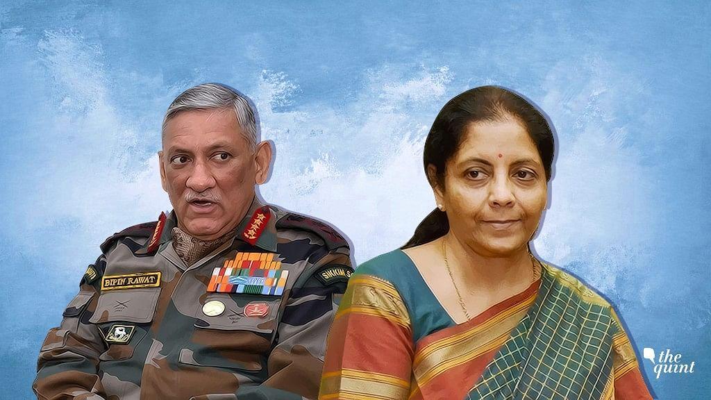 Army chief Bipin Rawat and Defence Minister Nirmala Sitharaman.