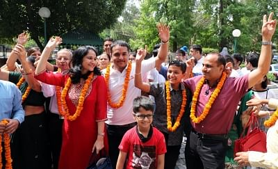 Chandigarh: JEE-Advanced 2018 topper Pranav Goyal celebrates his achievement with family in Chandigarh, on June 10, 2018. (Photo: IANS)