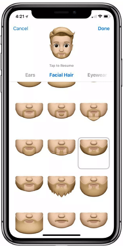 Facial hair options available on the Memoji.