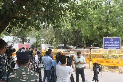 New Delhi: Media personnel outside the office of New Delhi