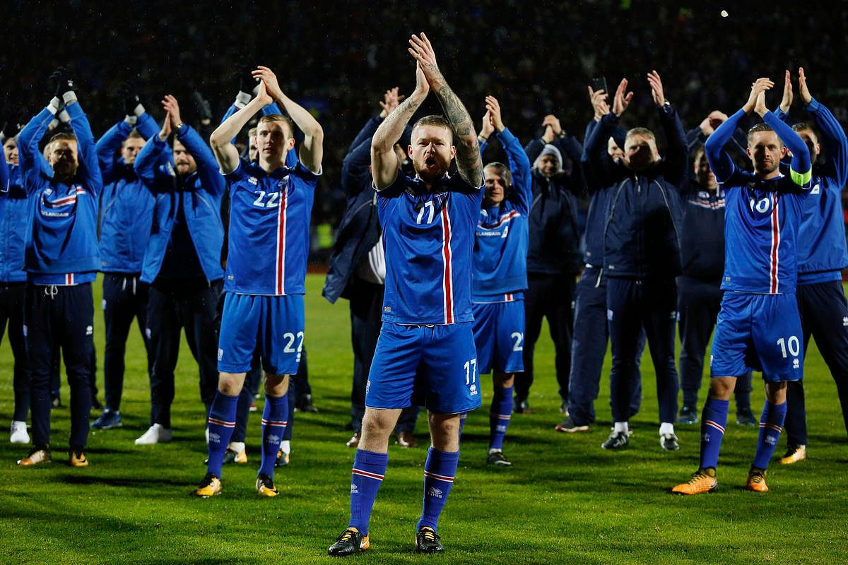 """Captain Aron Gunnarsson leads the Iceland """"Thunderclap"""", which has become iconic after the country's Euro 2016 performance."""