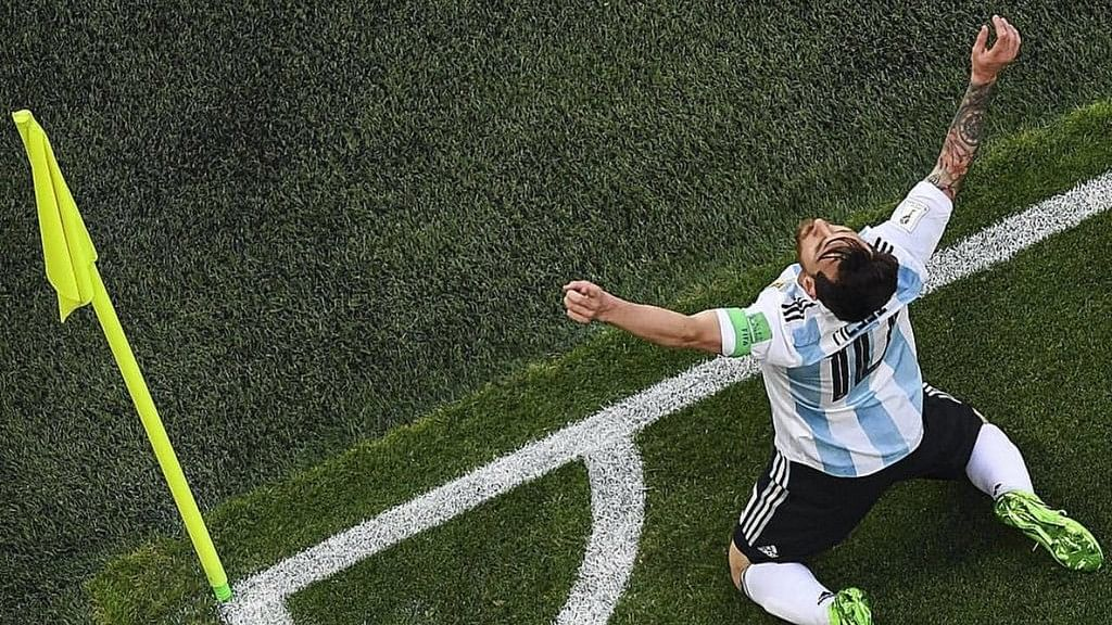 Lionel Messi after scoring a goal against Nigeria.