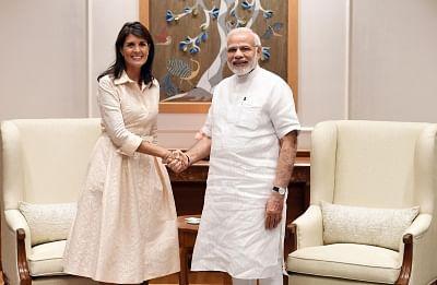 New Delhi: US Ambassador to the UN Nikki Haley meets Prime Minister Narendra Modi, in New Delhi on June 27, 2018. (Photo: IANS/PIB)