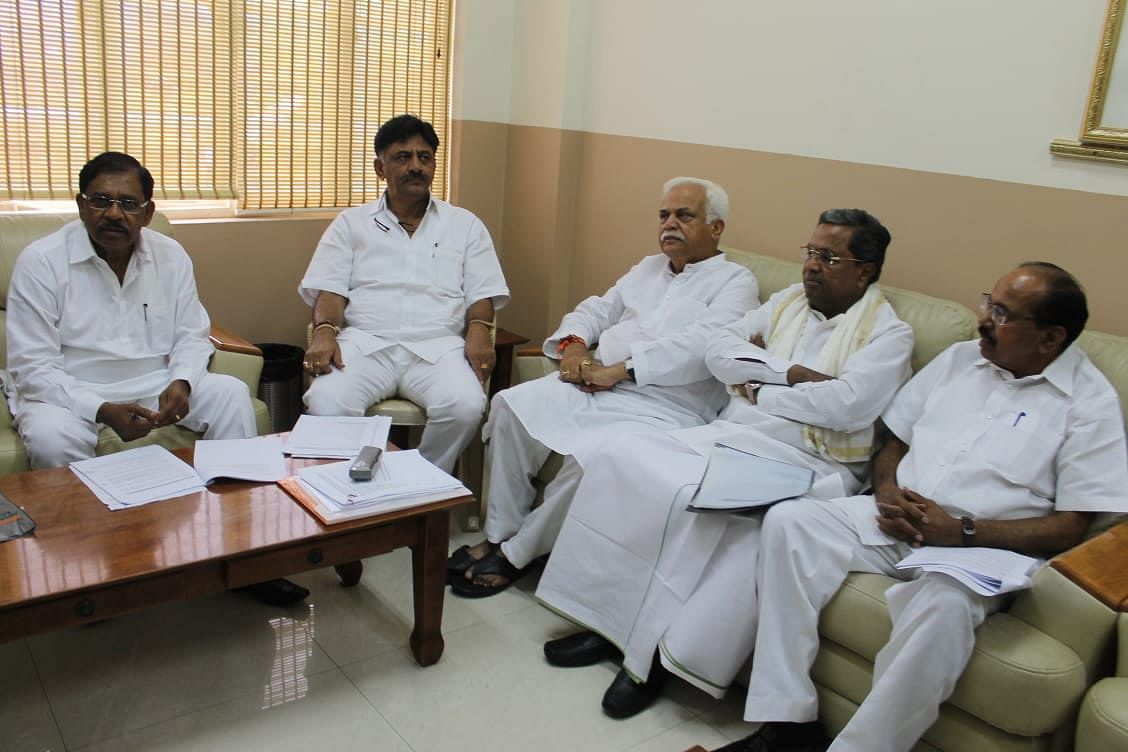 Siddaramaiah along with senior Congress leader during the meeting on Friday.
