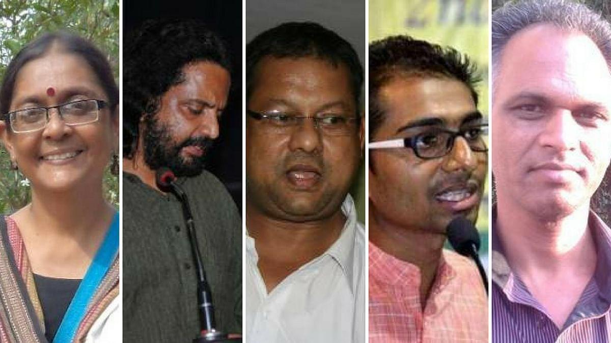 (L-R) Dr Shoma Sen,  Rona Wilson, Surendra Gadling, Mahesh Raut and Sudhir Dhawale,