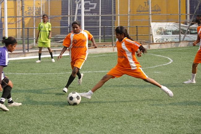 Anbarasi in an inter-school football tournament.