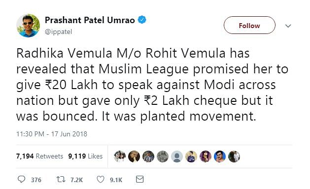Muslim League Did Not Pay Rohith Vemula's Mom to Speak Against PM