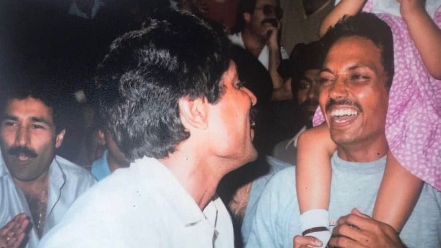 Captain Kapil Dev (left) celebrating India's 1983 World Cup Win with vice-captain Mohinder 'Jimmy' Amarnath.