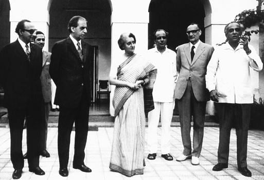 Indira Gandhi flanked by Aziz Ahmed (left) and Haksar in New Delhi, August 1973.