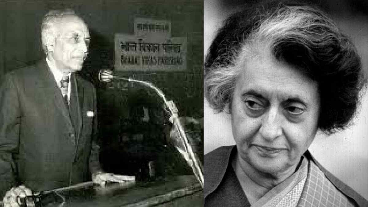 Justice HR Khanna (L) and former Prime Minister Indira Gandhi (R).