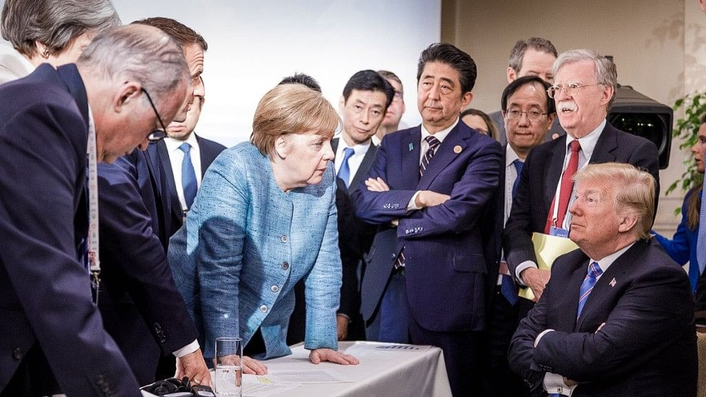 A photo tweeted by the German government spokesman @RegSprecher captured the mood, showing a seated Trump, arms crossed, surrounded by other leaders standing over him.