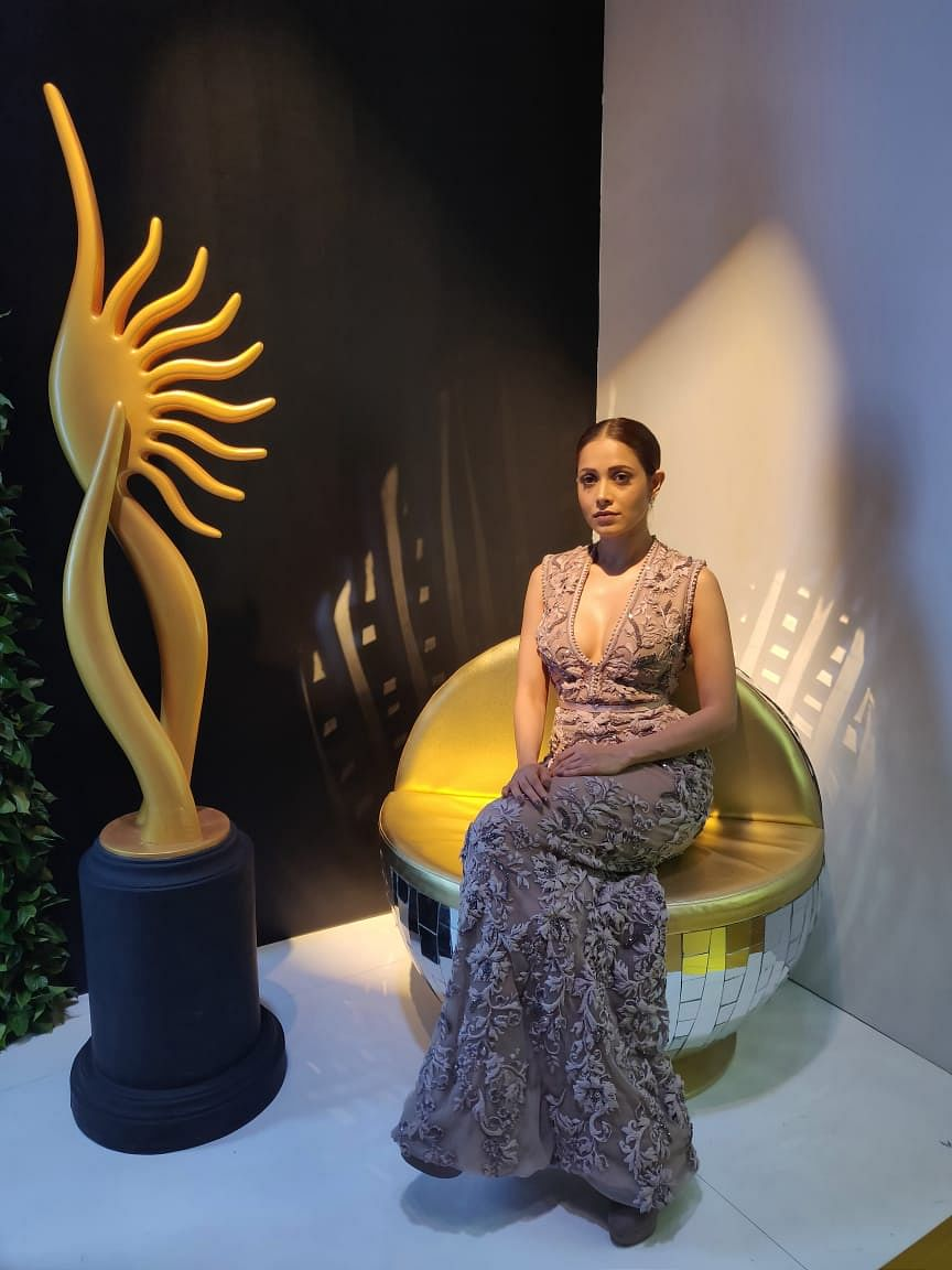 Nushrat Bharucha wears a light mauve embroidered a-line gown for IIFA 2018!