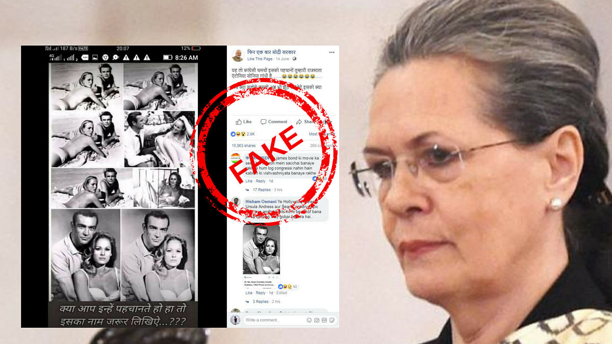 A Facebook post shows purported images of former Congress President Sonia Gandhi in beachwear. The images are actually of the James Bond actress Ursula Andress.