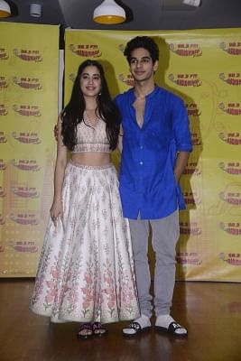 "Mumbai: Actors Janhvi Kapoor and Ishaan Khatter during the promotion of their upcoming film ""Dhadak"" in Mumbai on June 27, 2018. (Photo: IANS)"