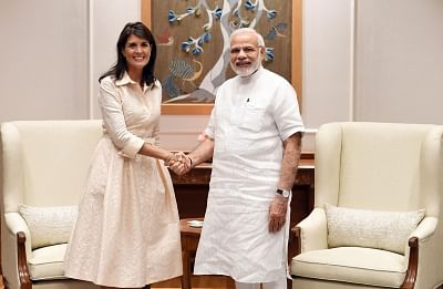 New Delhi: US Ambassador to the UN Nikki Haley meets Prime Minister Narendra Modi, in New Delhi on June 27, 2018. (Photo: IANS/PIB)