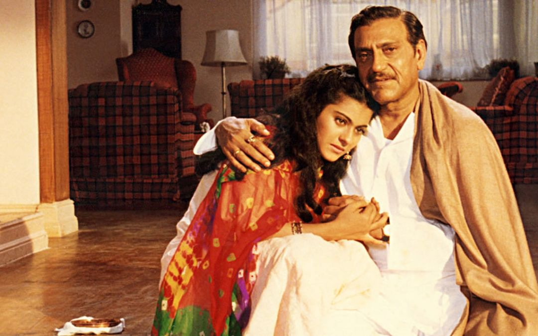 Amrish&nbsp; Puri and Kajol in a still from <i>Dilwale Dulhania Le Jayenge</i>.