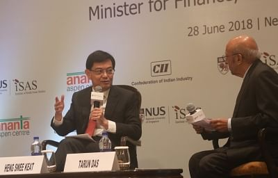 New Delhi: Singapore Finance Minister Heng Swee Keat addressees at a panel discussion on Singapore Symposium 2018 in New Delhi, on June 28, 2018. (Photo: IANS)
