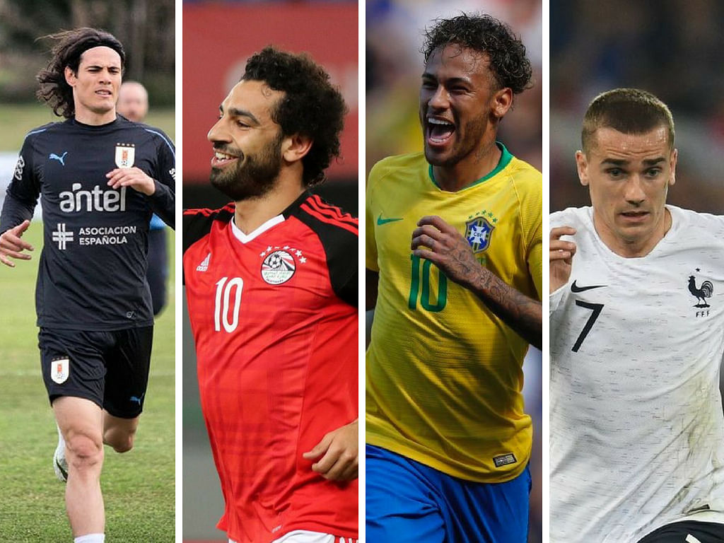 (L-R) Edinson Cavani, Mohamad Salah, Neymar Jr and Antoine Griezmann