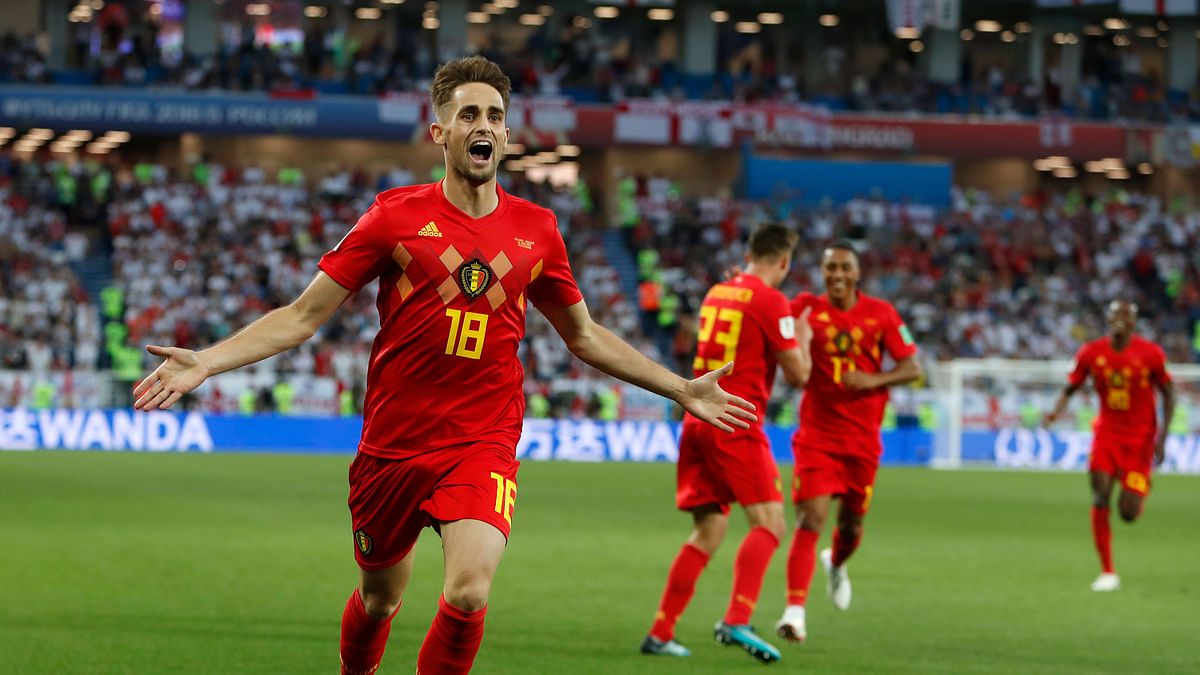 Belgium's Adnan Januzaj celebrates after scoring the opening goal during the group G match between England and Belgium.