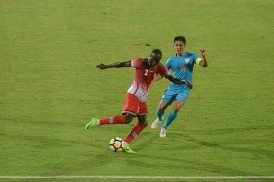 Mumbai: Players in action during an Intercontinental Cup match between India and Kenya at Andheri Sport Complex in Mumbai on June 10, 2018. (Photo: IANS)